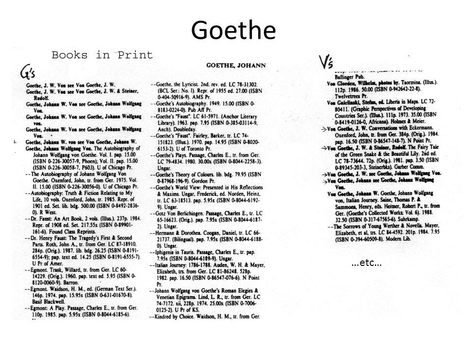Goethe …etc…