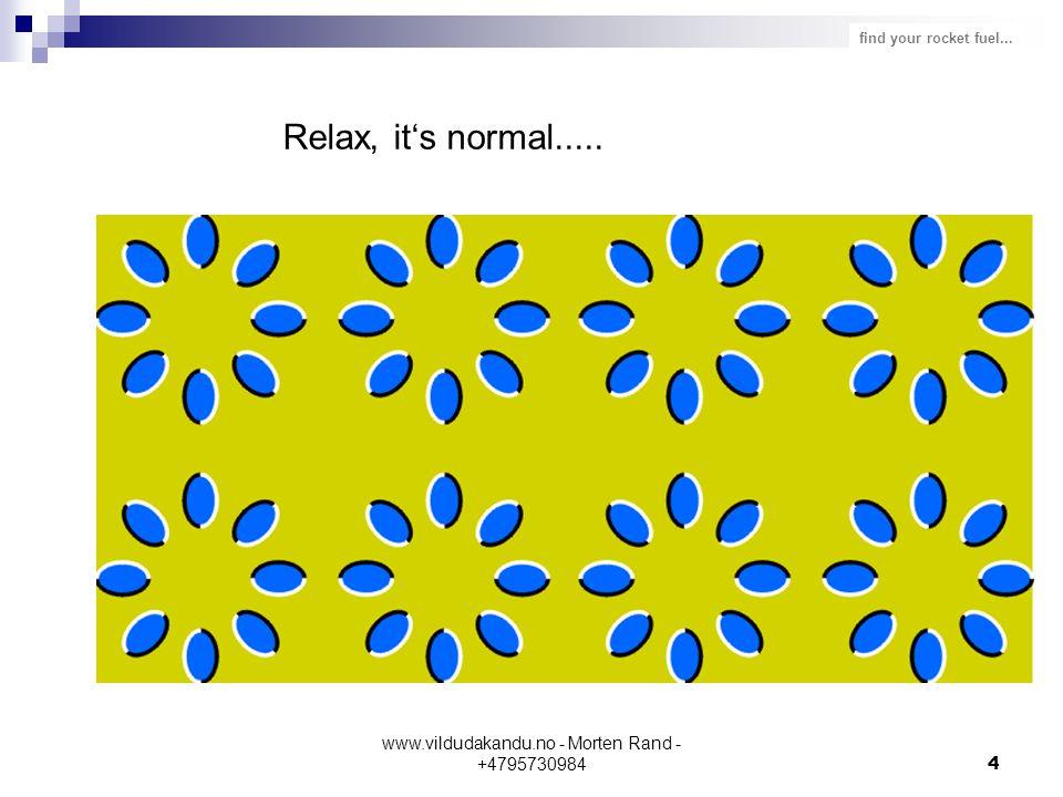 find your rocket fuel... www.vildudakandu.no - Morten Rand - +47957309844 Relax, it's normal.....
