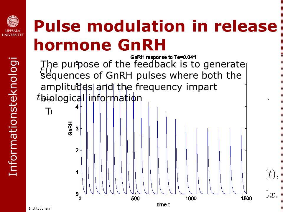 Informationsteknologi Institutionen för informationsteknologi | www.it.uu.se Pulse modulation in release hormone GnRH Pulse modulation (amplitude and