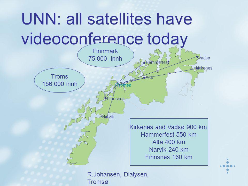 R.Johansen, Dialysen, Tromsø UNN: all satellites have videoconference today Finnmark 75.000 innh •Tromsø •Finnsnes •Alta •Hammerfes t •Vadsø •Kirkenes