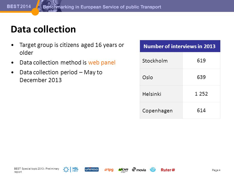 BEST 2014 •Target group is citizens aged 16 years or older •Data collection method is web panel •Data collection period – May to December 2013 Data collection BEST Special topic 2013 - Preliminary report Page 4 Number of interviews in 2013 Stockholm619 Oslo639 Helsinki1 252 Copenhagen614