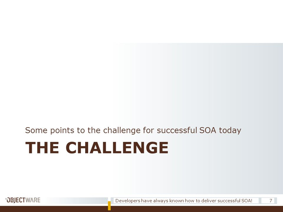 THE CHALLENGE Some points to the challenge for successful SOA today 7Developers have always known how to deliver successful SOA!