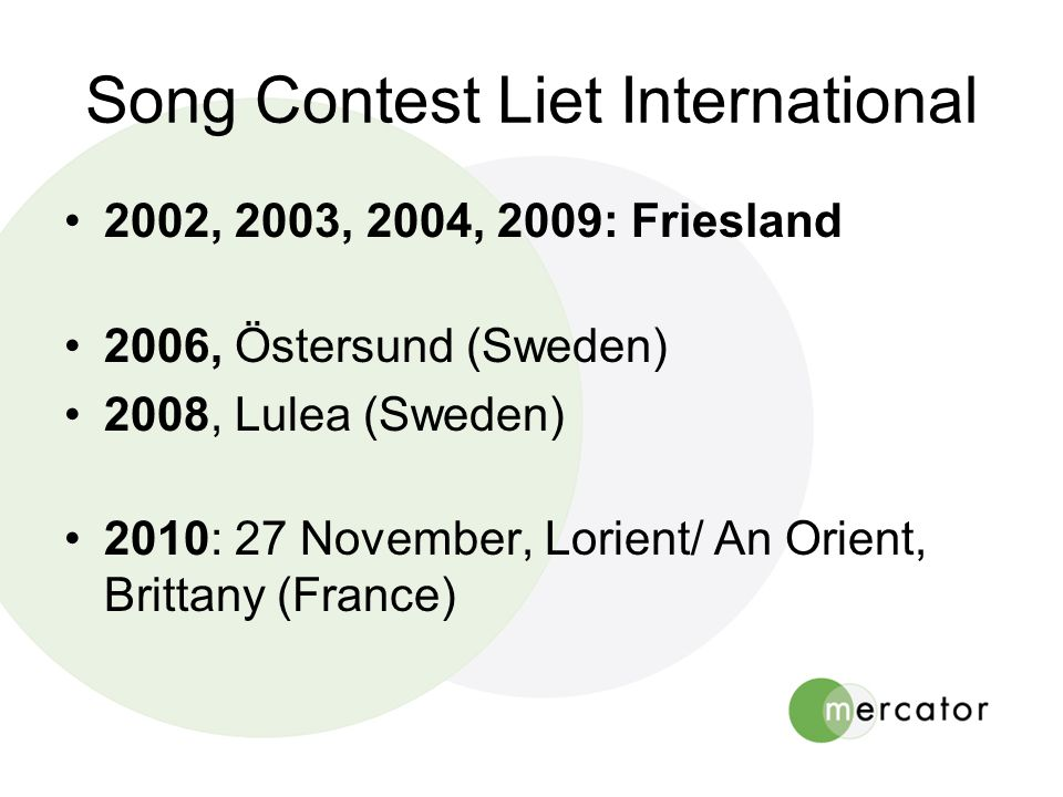 Song Contest Liet International •2002, 2003, 2004, 2009: Friesland •2006, Östersund (Sweden) •2008, Lulea (Sweden) •2010: 27 November, Lorient/ An Orient, Brittany (France)