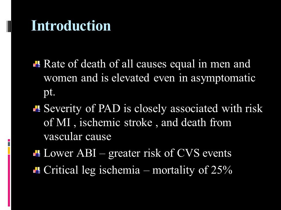 Introduction Rate of death of all causes equal in men and women and is elevated even in asymptomatic pt.