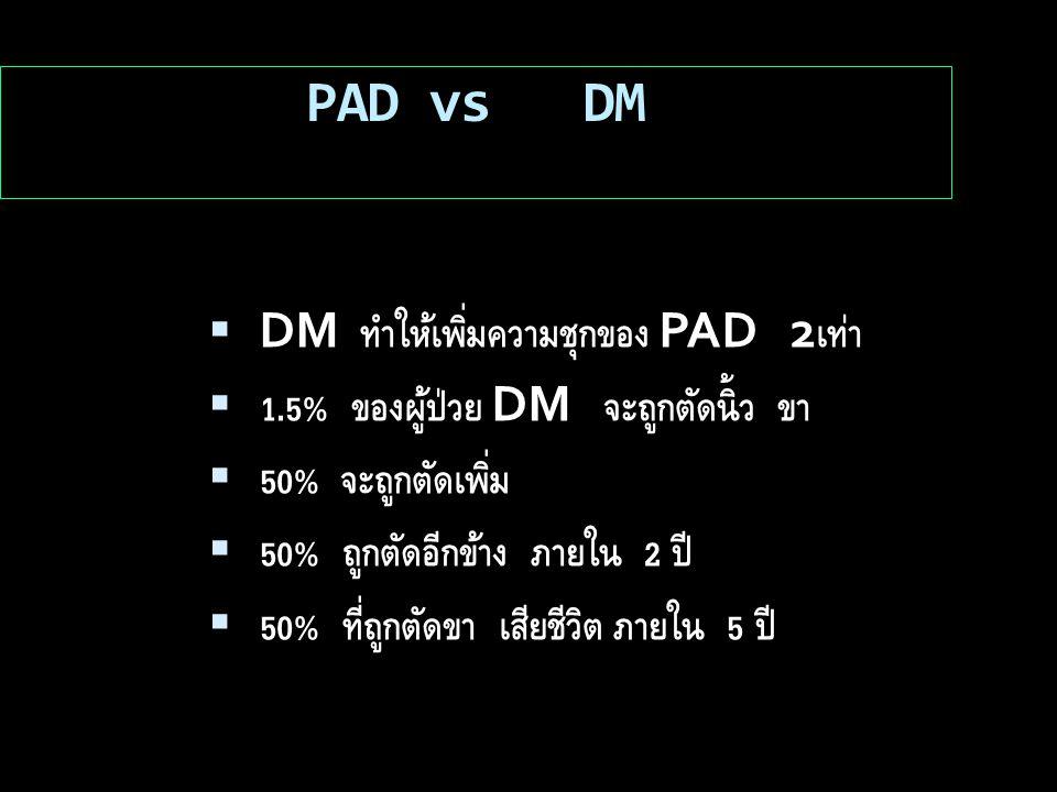 PAD vs DM  DM ทำให้เพิ่มความชุกของ PAD 2 เท่า  1.5% ของผู้ป่วย DM จะถูกตัดนิ้ว ขา  50% จะถูกตัดเพิ่ม  50% ถูกตัดอีกข้าง ภายใน 2 ปี  50% ที่ถูกตัดขา เสียชีวิต ภายใน 5 ปี