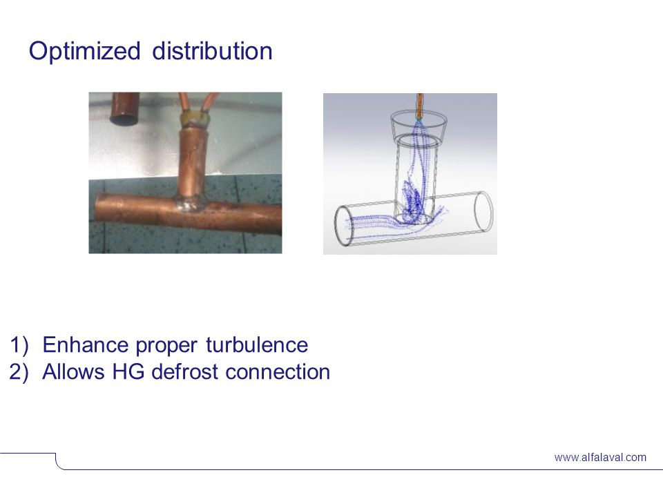www.alfalaval.com Optimized distribution 1)Enhance proper turbulence 2)Allows HG defrost connection