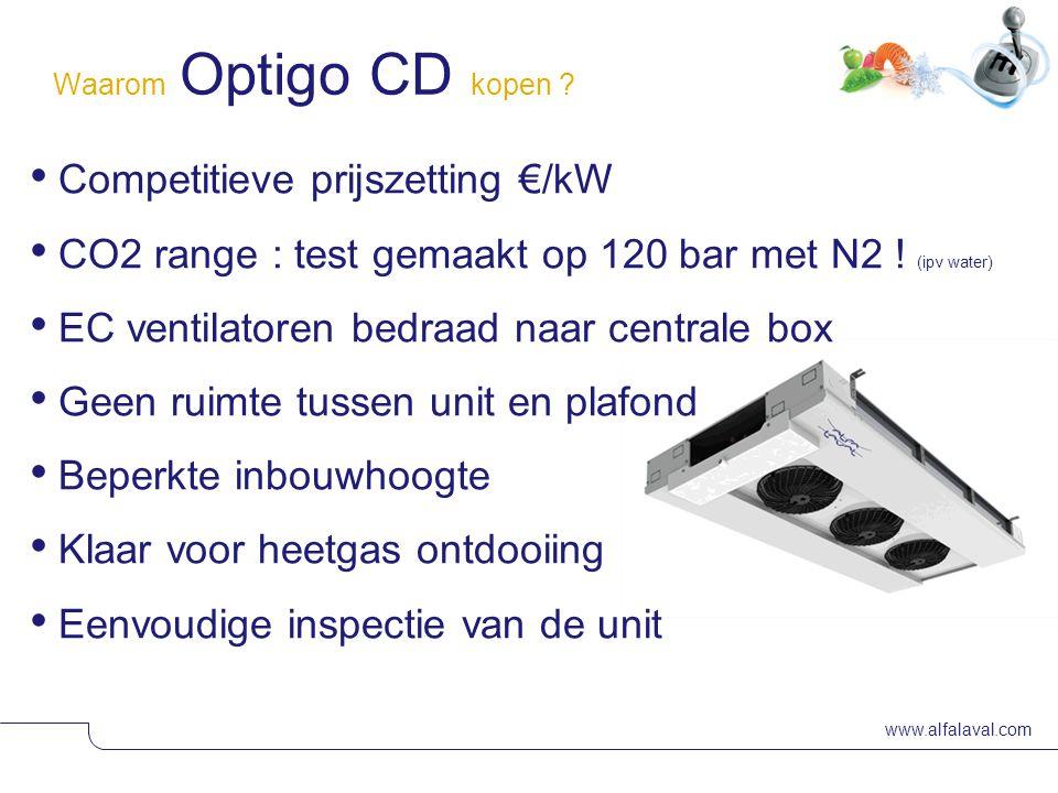 www.alfalaval.com © Alfa Laval Waarom Optigo CD kopen ? • Competitieve prijszetting €/kW • CO2 range : test gemaakt op 120 bar met N2 ! (ipv water) •