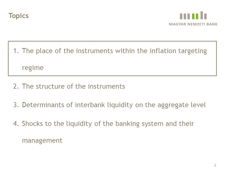 1.The place of the instruments within the inflation targeting regime 2.The structure of the instruments 3.Determinants of interbank liquidity on the aggregate level 4.Shocks to the liquidity of the banking system and their management 23 Topics