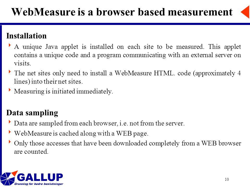 GALLUP Grunnlag for bedre beslutninger 10 WebMeasure is a browser based measurement Installation  A unique Java applet is installed on each site to b