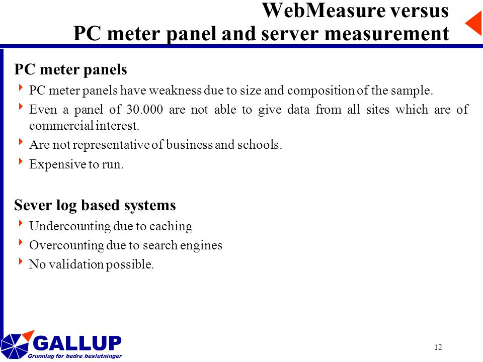 GALLUP Grunnlag for bedre beslutninger 12 WebMeasure versus PC meter panel and server measurement PC meter panels  PC meter panels have weakness due to size and composition of the sample.