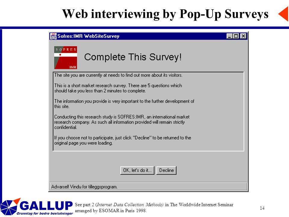 GALLUP Grunnlag for bedre beslutninger 14 Web interviewing by Pop-Up Surveys See part 2 (Internet Data Collection Methods) in The Worldwide Internet S