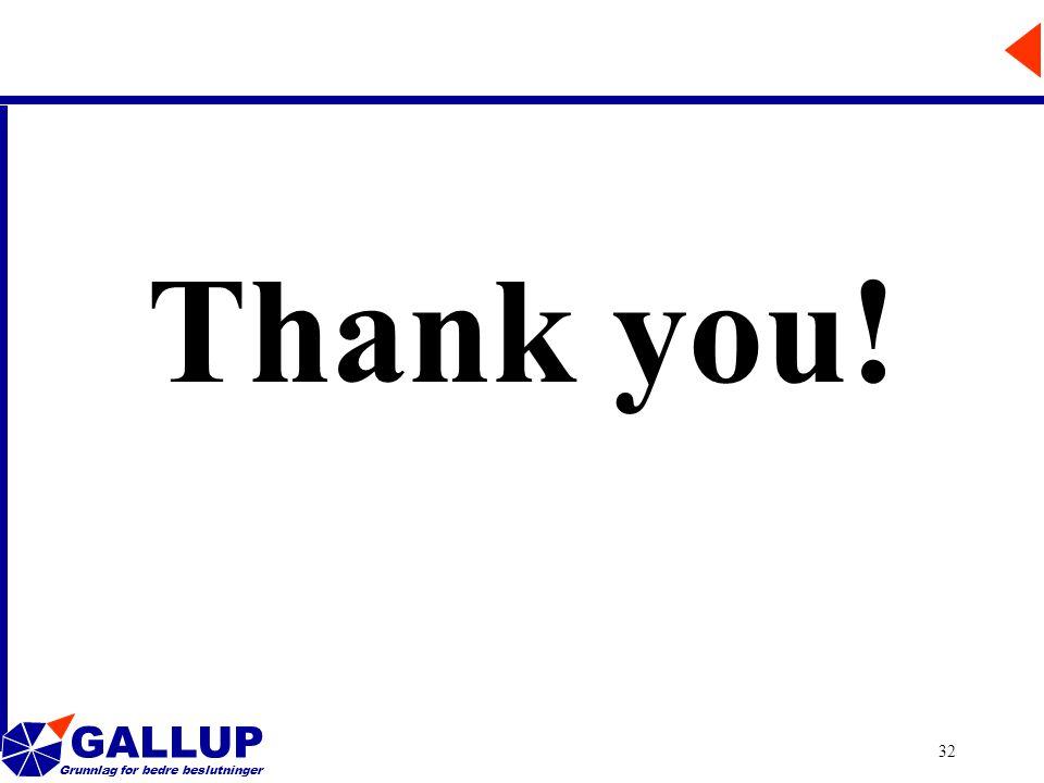 GALLUP Grunnlag for bedre beslutninger 32 Thank you!