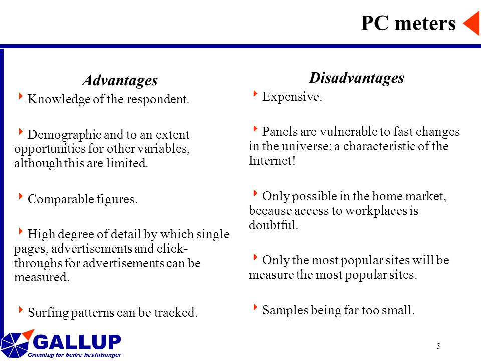 GALLUP Grunnlag for bedre beslutninger 5 PC meters Advantages  Knowledge of the respondent.
