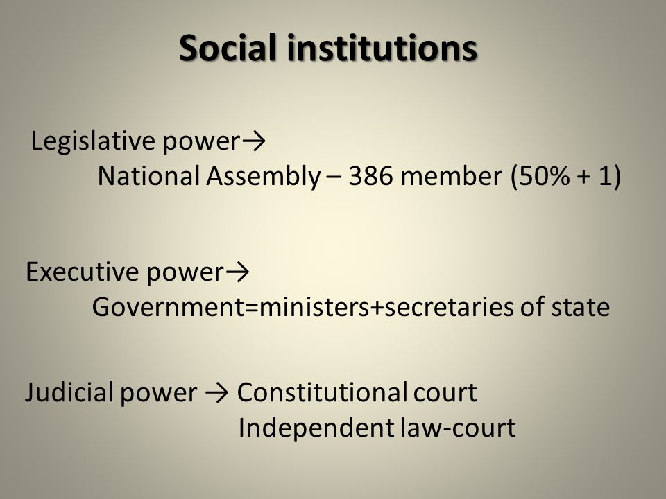 Social institutions Legislative power→ National Assembly – 386 member (50% + 1) Executive power→ Government=ministers+secretaries of state Judicial power → Constitutional court Independent law-court
