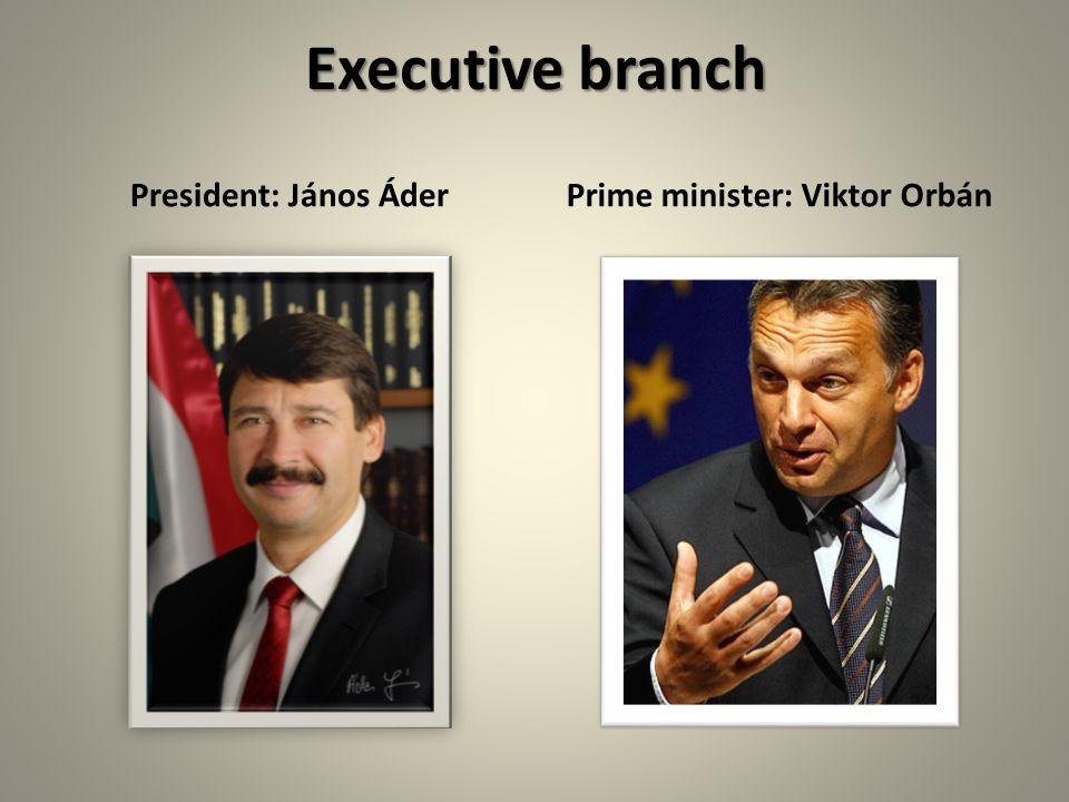 Executive branch President: János ÁderPrime minister: Viktor Orbán