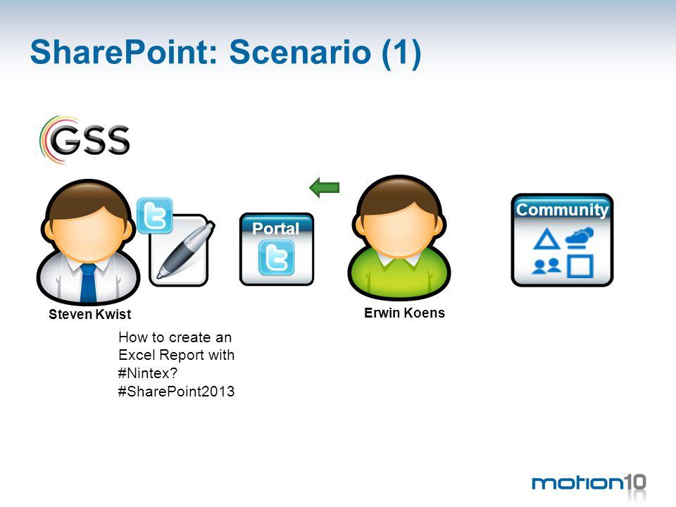 SharePoint: Scenario (1) Community Portal Erwin Koens Steven Kwist How to create an Excel Report with #Nintex.