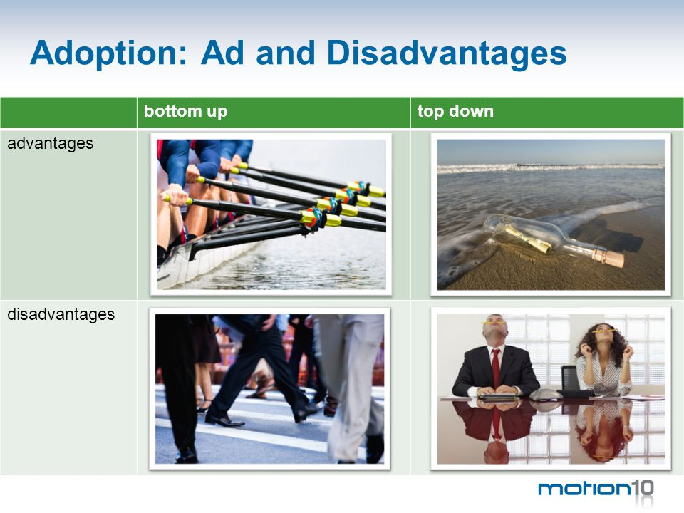 Adoption: Ad and Disadvantages bottom uptop down advantages disadvantages