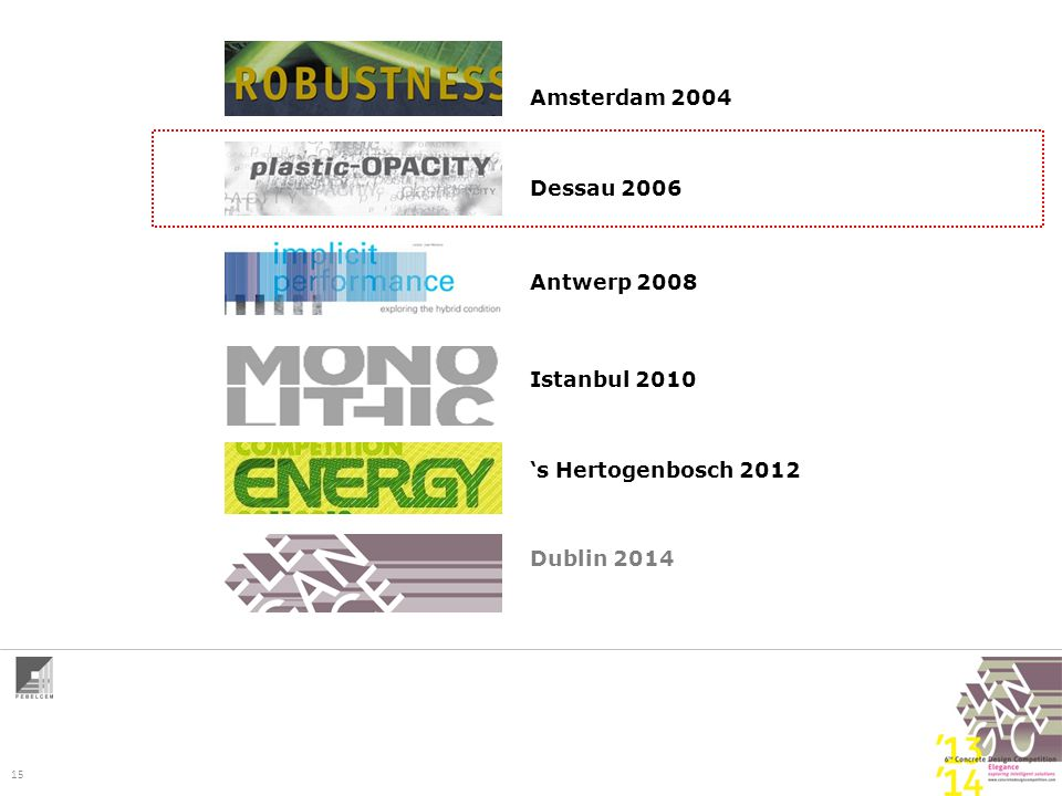 15 Amsterdam 2004 Dessau 2006 Antwerp 2008 Istanbul 2010 's Hertogenbosch 2012 Dublin 2014