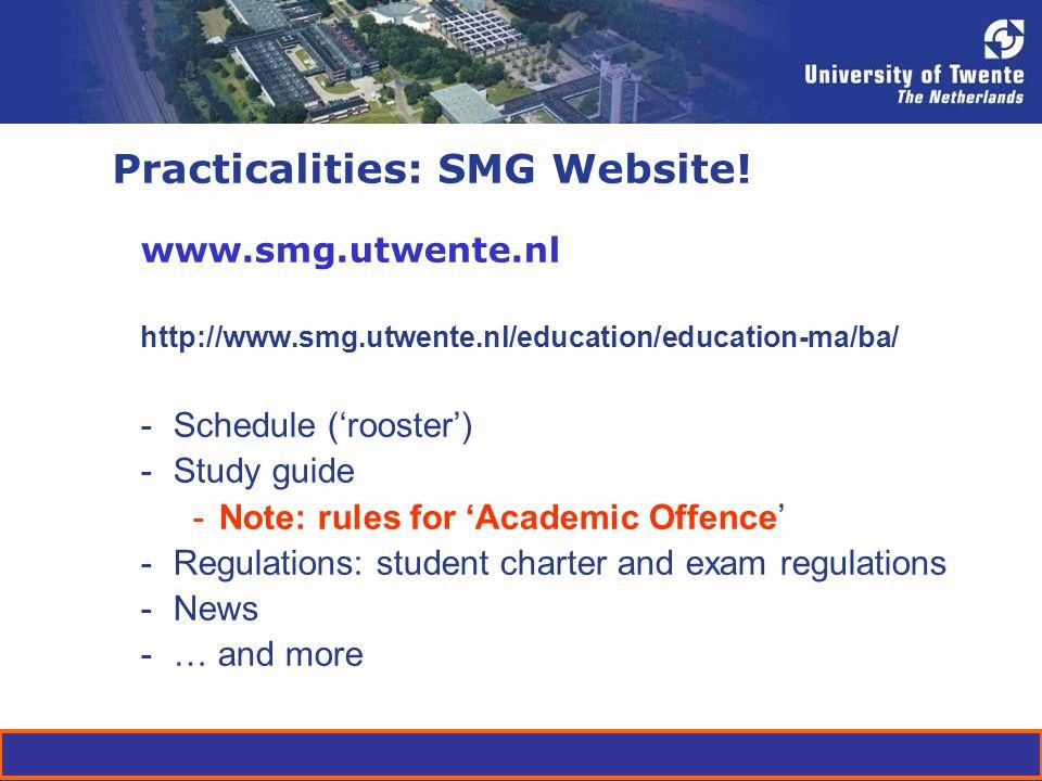 Practicalities: SMG Website.