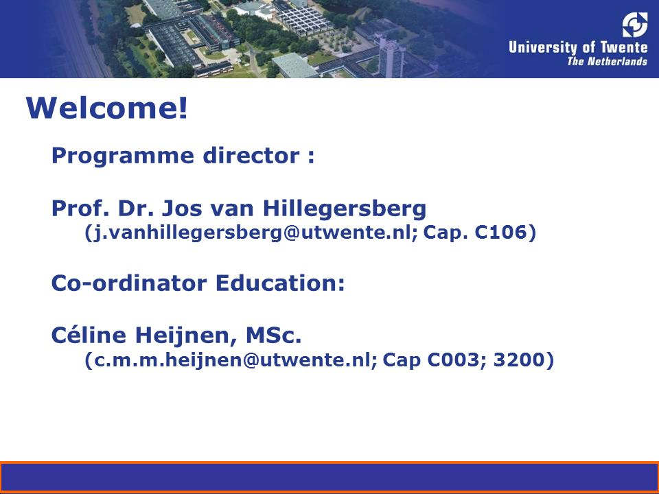 Welcome. Programme director : Prof. Dr.