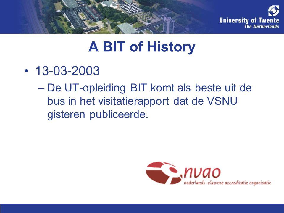 A BIT of History •13-03-2003 –De UT-opleiding BIT komt als beste uit de bus in het visitatierapport dat de VSNU gisteren publiceerde.