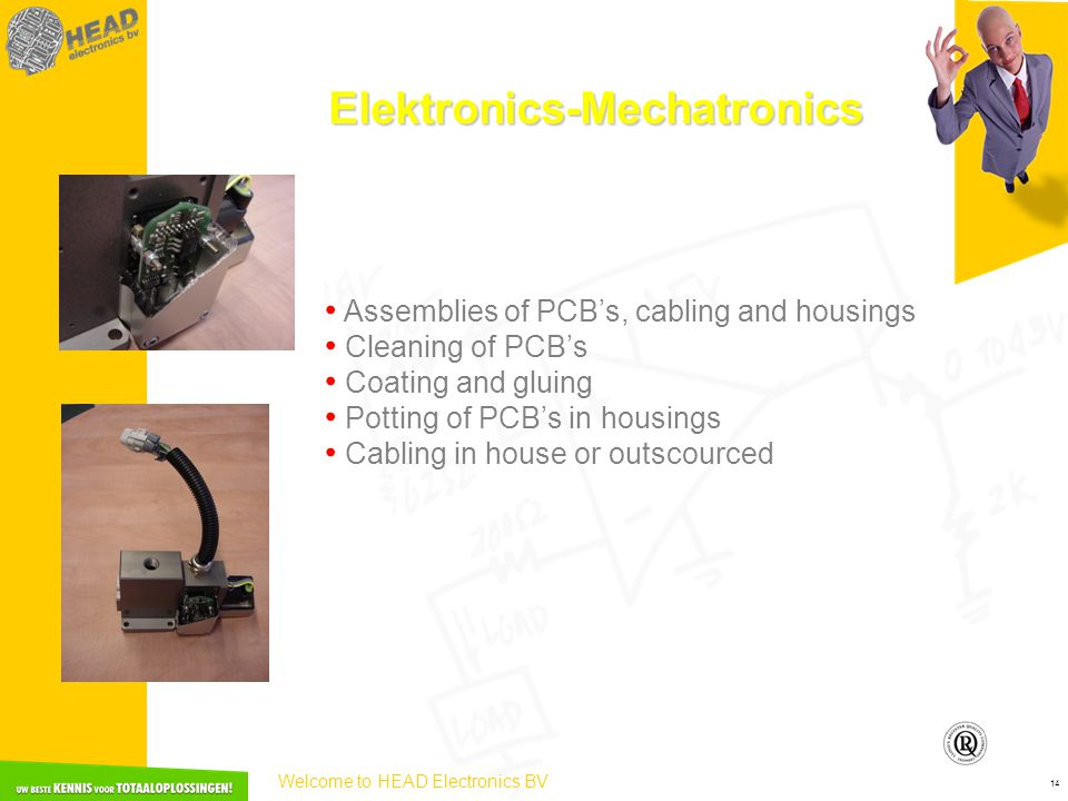 Welcome to HEAD Electronics BV 14 Elektronics-Mechatronics • Assemblies of PCB's, cabling and housings • Cleaning of PCB's • Coating and gluing • Pott