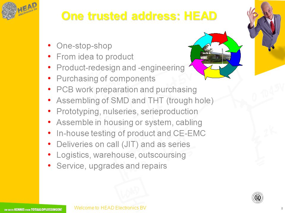 Welcome to HEAD Electronics BV 2 • One-stop-shop • From idea to product • Product-redesign and -engineering • Purchasing of components • PCB work preparation and purchasing • Assembling of SMD and THT (trough hole) • Prototyping, nulseries, serieproduction • Assemble in housing or system, cabling • In-house testing of product and CE-EMC • Deliveries on call (JIT) and as series • Logistics, warehouse, outscoursing • Service, upgrades and repairs One trusted address: HEAD