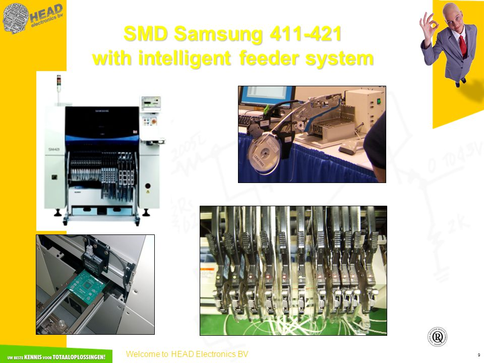 Welcome to HEAD Electronics BV 9 SMD Samsung 411-421 with intelligent feeder system