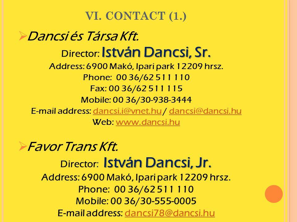  Dancsi és Társa Kft. István Dancsi, Sr. Director: István Dancsi, Sr. Address: 6900 Makó, Ipari park 12209 hrsz. Phone: 00 36/62 511 110 Fax: 00 36/6