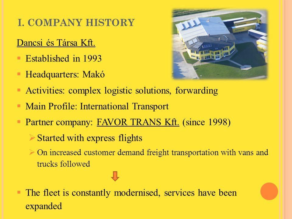 I. COMPANY HISTORY Dancsi és Társa Kft.  Established in 1993  Headquarters: Makó  Activities: complex logistic solutions, forwarding  Main Profile