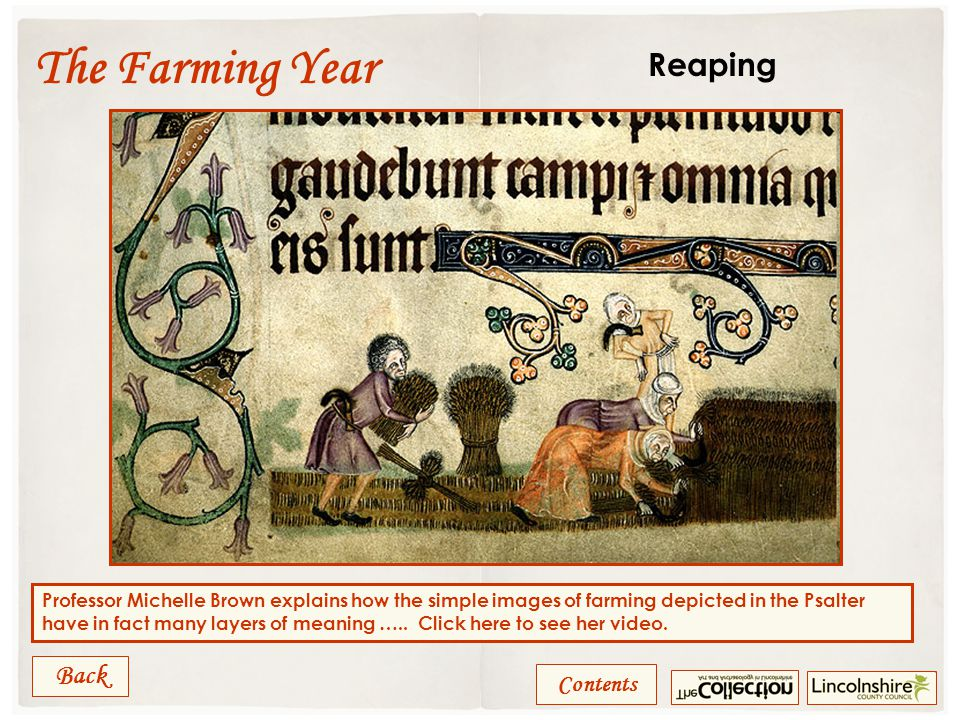 Contents The Farming Year Image of harrowing from Psalm 94, ff.