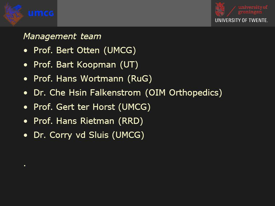 Management team •Prof. Bert Otten (UMCG) •Prof. Bart Koopman (UT) •Prof.
