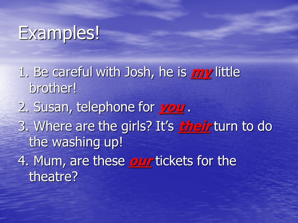 Examples! 1. Be careful with Josh, he is my little brother! 2. Susan, telephone for you. 3. Where are the girls? It's their turn to do the washing up!