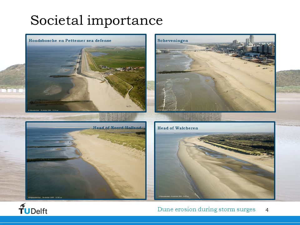 15 Titel van de presentatie Dune erosion during storm surges XBeach New physical insights are coupled in the morphodynamic model XBeach that: •Solves both short waves (energy balance) and long waves (Nonlinear Shallow Water Equations); •Includes a formulation that also relates the sediment concentration to the wave breaking induced turbulence pulses that potentially reach the bed; •Includes the longshore direction.