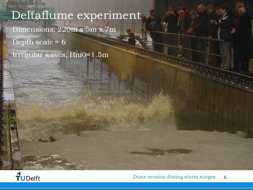 6 Titel van de presentatie Deltaflume experiment Dimensions: 220m x 5m x 7m Depth scale = 6 Irregular waves; Hm0=1.5m Dune erosion during storm surges