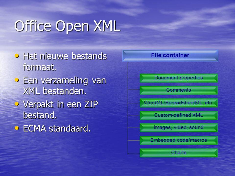 Office Open XML • Het nieuwe bestands formaat. • Een verzameling van XML bestanden.