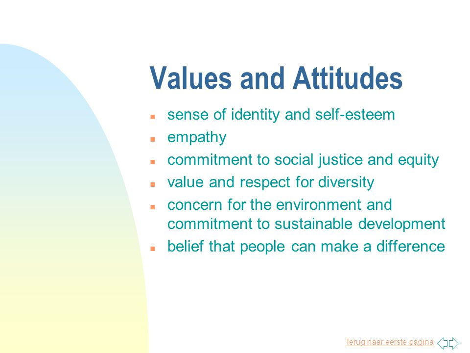 Terug naar eerste pagina Values and Attitudes n sense of identity and self-esteem n empathy n commitment to social justice and equity n value and respect for diversity n concern for the environment and commitment to sustainable development n belief that people can make a difference