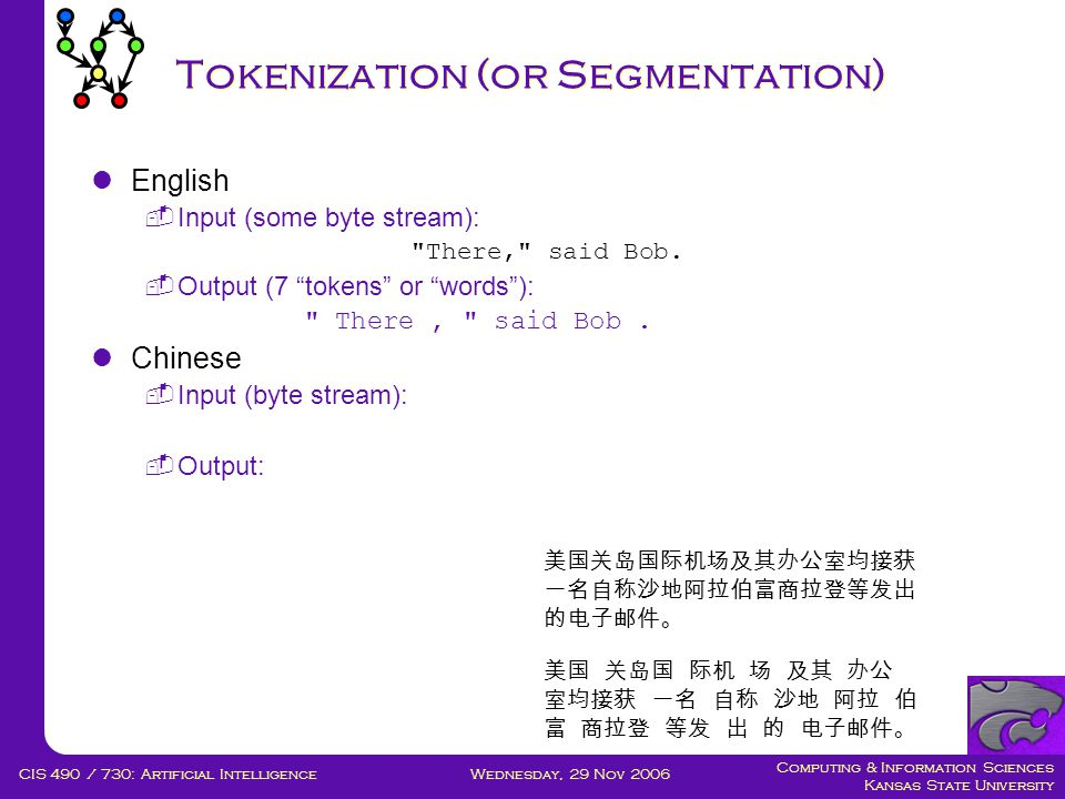 Computing & Information Sciences Kansas State University Wednesday, 29 Nov 2006CIS 490 / 730: Artificial Intelligence Tokenization (or Segmentation)  English  Input (some byte stream): There, said Bob.