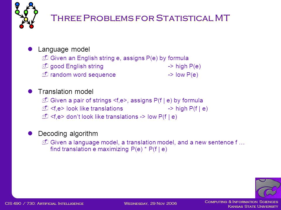 Computing & Information Sciences Kansas State University Wednesday, 29 Nov 2006CIS 490 / 730: Artificial Intelligence Three Problems for Statistical MT  Language model  Given an English string e, assigns P(e) by formula  good English string -> high P(e)  random word sequence -> low P(e)  Translation model  Given a pair of strings, assigns P(f | e) by formula  look like translations -> high P(f | e)  don't look like translations -> low P(f | e)  Decoding algorithm  Given a language model, a translation model, and a new sentence f … find translation e maximizing P(e) * P(f | e)