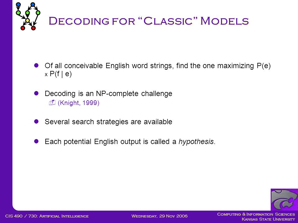 Computing & Information Sciences Kansas State University Wednesday, 29 Nov 2006CIS 490 / 730: Artificial Intelligence Decoding for Classic Models  Of all conceivable English word strings, find the one maximizing P(e) x P(f | e)  Decoding is an NP-complete challenge  (Knight, 1999)  Several search strategies are available  Each potential English output is called a hypothesis.