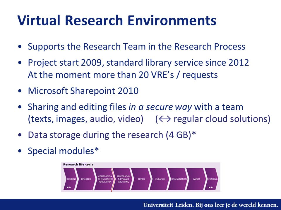 Universiteit Leiden. Bij ons leer je de wereld kennen. Virtual Research Environments •Supports the Research Team in the Research Process •Project star