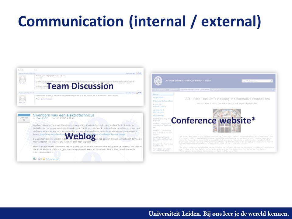 Universiteit Leiden. Bij ons leer je de wereld kennen. Communication (internal / external) Team Discussion Weblog Conference website*