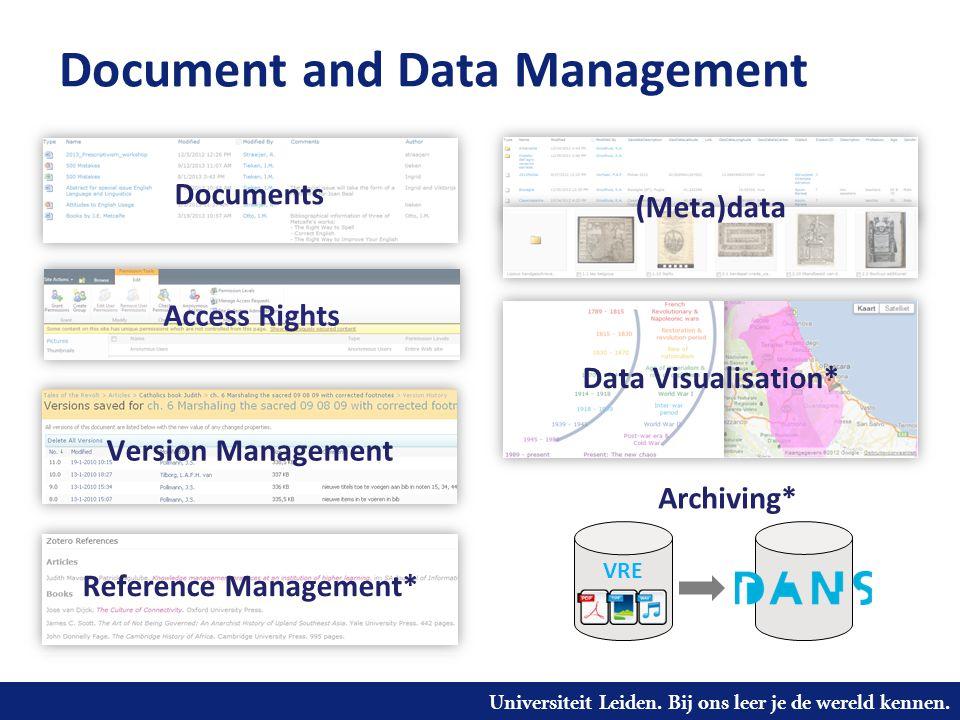 Universiteit Leiden. Bij ons leer je de wereld kennen. Document and Data Management Version Management Documents Data Visualisation* Reference Managem