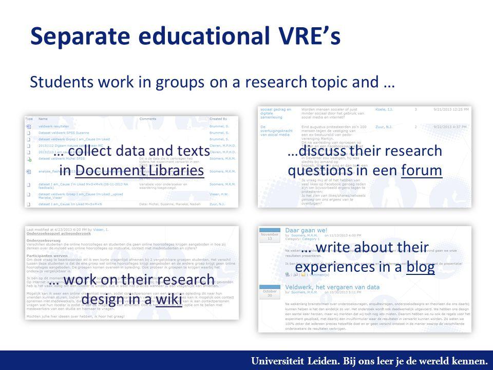 Universiteit Leiden. Bij ons leer je de wereld kennen. Separate educational VRE's …discuss their research questions in een forum … work on their resea