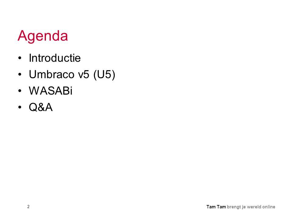 2 Tam Tam brengt je wereld online Agenda •Introductie •Umbraco v5 (U5) •WASABi •Q&A