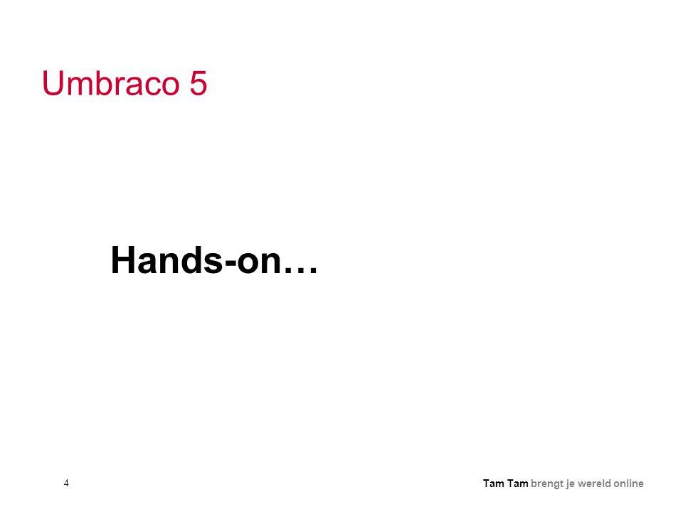 4 Tam Tam brengt je wereld online Umbraco 5 Hands-on…