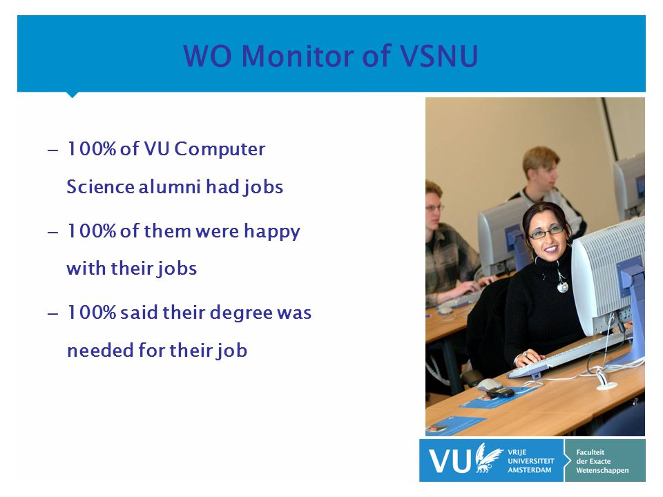 KOP OVER 2 REGELS tekst – 100% of VU Computer Science alumni had jobs – 100% of them were happy with their jobs – 100% said their degree was needed for their job WO Monitor of VSNU