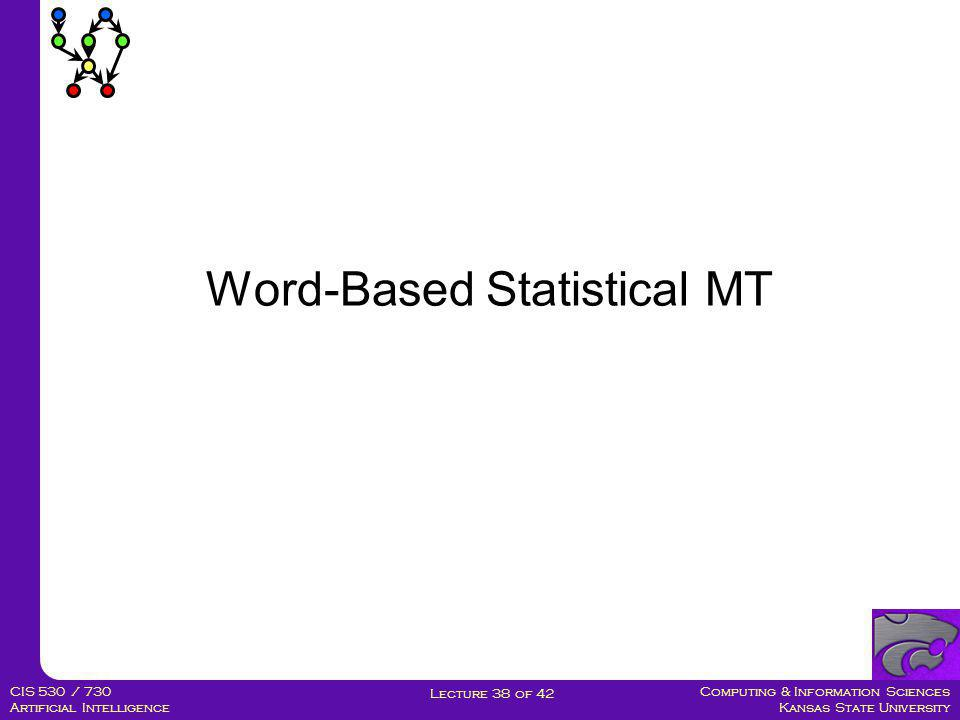 Computing & Information Sciences Kansas State University Lecture 38 of 42 CIS 530 / 730 Artificial Intelligence Statistical MT Systems Spanish Broken English Spanish/English Bilingual Text English Text Statistical Analysis Que hambre tengo yoI am so hungry Translation Model P(s|e) Language Model P(e) Decoding algorithm argmax P(e) * P(s|e) e
