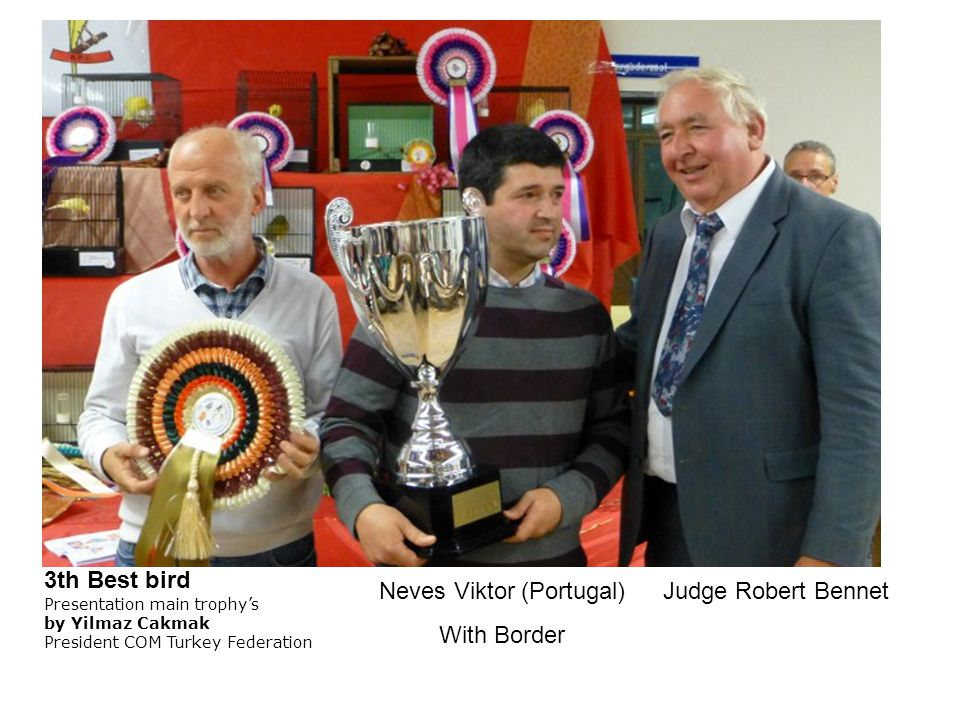Neves Viktor (Portugal) With Border Judge Robert Bennet 3th Best bird Presentation main trophy's by Yilmaz Cakmak President COM Turkey Federation