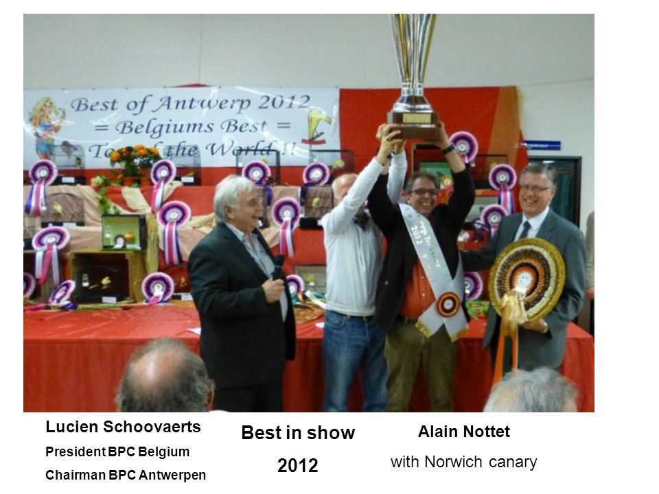 Best in show 2012 Lucien Schoovaerts President BPC Belgium Chairman BPC Antwerpen Alain Nottet with Norwich canary